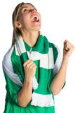 Cheering football fan in green jersey Stock Images