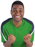 Cheering football fan in green jersey Royalty Free Stock Image