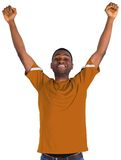 Cheering football fan in orange jersey Stock Photography