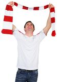 Cheering football fan in white Royalty Free Stock Image