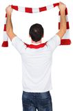 Cheering football fan in white Stock Photo
