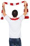Cheering football fan in white Stock Photo