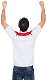Cheering football fan in white Royalty Free Stock Images
