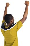 Cheering football fan in yellow jersey Royalty Free Stock Photography