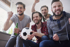 Cheering football fans Royalty Free Stock Photo
