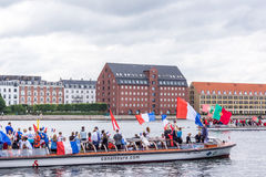 Cheering football supporters on canal boats in Copenhagen. Stock Images