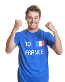 Cheering french football fan Royalty Free Stock Image