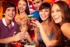 Cheering friends Stock Photography