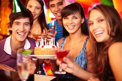Cheering friends Royalty Free Stock Image