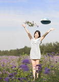 A cheering girl in garden Royalty Free Stock Photography
