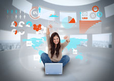 Cheering girl using laptop with interface Royalty Free Stock Photo