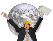 Cheering global Indian engineer Royalty Free Stock Photography