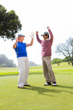 Cheering golfing friends Stock Images