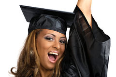 Cheering Graduate Isolated Stock Images