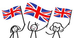 Cheering group of happy stick figures with British national flags, Great Britain supporters smiling and waving Union Jack flags. Isolated on white background Royalty Free Stock Images