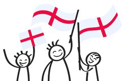 Cheering group of happy stick figures with English national flags, smiling England supporters, sports fans. Isolated on white background stock illustration