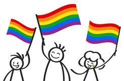 Cheering group of happy stick figures with rainbow flags, LGBTQ supporters smiling and waving colorful flags. Isolated on white background vector illustration