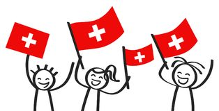Cheering group of happy stick figures with Swiss national flags, smiling Switzerland supporters, sports fans Royalty Free Stock Photo