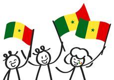 Cheering group of happy three stick figures with Senegalese national flags, smiling Senegal supporters, sports fans. Isolated on white background Royalty Free Stock Photos