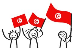 Cheering group of happy three stick figures with Tunisian national flags, smiling Tunisia supporters, sports fans. Isolated on white background Royalty Free Stock Image