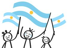 Cheering group of three happy stick figures with Argentinian national flags, smiling Argentina supporters, sports fans. Isolated on white background Royalty Free Stock Photos