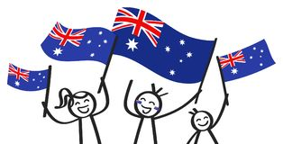 Cheering group of three happy stick figures with Australian national flags, smiling Australia supporters, sports fans. Isolated on white background Royalty Free Stock Photography