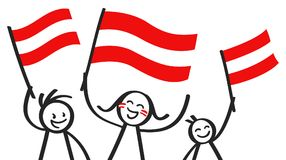 Cheering group of three happy stick figures with Austrian national flags, smiling Austria supporters, sports fans. Isolated on white background Stock Image