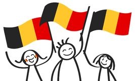 Cheering group of three happy stick figures with Belgian national flags, smiling Belgium supporters, sports fans. Isolated on white background Stock Images