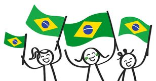 Cheering group of three happy stick figures with Brazilian national flags, smiling Brazil supporters, sports fans. Isolated on white background Stock Photo