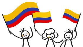 Cheering group of three happy stick figures with Colombian national flags, smiling Colombia supporters, sports fans. Isolated on white background Stock Photo