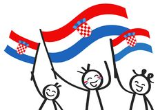 Cheering group of three happy stick figures with Croatian national flags, smiling Croatia supporters, sports fans. Isolated on white background Royalty Free Stock Images