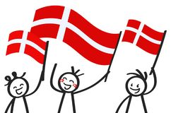 Cheering group of three happy stick figures with Danish national flags, smiling Denmark supporters, sports fans. Isolated on white background Royalty Free Stock Images