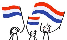 Cheering group of three happy stick figures with Dutch national flags, smiling Netherlands supporters, sports fans. Isolated on white background Royalty Free Stock Photos