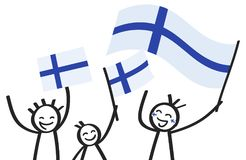 Cheering group of three happy stick figures with Finnish national flags, smiling Finland supporters, sports fans. Isolated on white background Royalty Free Stock Image