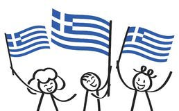 Cheering group of three happy stick figures with Greek national flags, smiling Greece supporters, sports fans. Isolated on white background Stock Photo