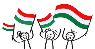 Cheering group of three happy stick figures with Hungarian national flags, smiling Hungary supporters, sports fans. Isolated on white background Royalty Free Stock Photos