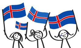 Cheering group of three happy stick figures with Icelandic national flags, smiling Iceland supporters, sports fans. Isolated on white background Royalty Free Stock Photo