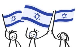 Cheering group of three happy stick figures with Israeli national flags, smiling Israel supporters, sports fans. Isolated on white background Stock Image