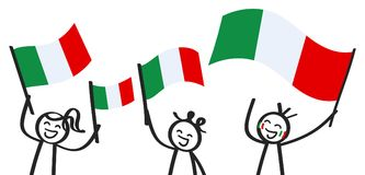 Cheering group of three happy stick figures with Italian national flags, smiling Italy supporters, sports fans. Isolated on white background vector illustration