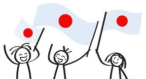 Cheering group of three happy stick figures with Japanese national flags, smiling Japan supporters, sports fans. Isolated on white background Royalty Free Stock Photo