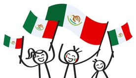 Cheering group of three happy stick figures with Mexican national flags, smiling Mexico supporters, sports fans. Isolated on white background Royalty Free Stock Images