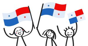 Cheering group of three happy stick figures with Panamanian national flags, smiling Panama supporters, sports fans. Isolated on white background Royalty Free Stock Images