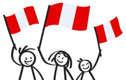 Cheering group of three happy stick figures with Peruvian national flags, smiling Peru supporters, sports fans. Isolated on white background Royalty Free Stock Photos