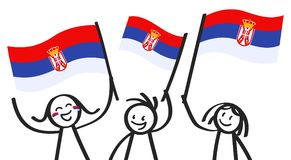 Cheering group of three happy stick figures with Serbian national flags, smiling Serbia supporters, sports fans. Isolated on white background Royalty Free Stock Photography