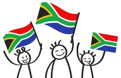 Cheering group of three happy stick figures with South African national flags, smiling South Africa supporters, sports fans. Isolated on white background Stock Image