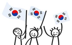Cheering group of three happy stick figures with South Korean national flags, smiling South Korea supporters, sports fans. Isolated on white background Stock Image