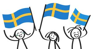 Cheering group of three happy stick figures with Swedish national flags, smiling Sweden supporters, sports fans. Isolated on white background Royalty Free Stock Photography