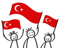 Cheering group of three happy stick figures with Turkish national flags, smiling Turkey supporters, sports fans. Isolated on white background Royalty Free Stock Photo