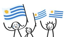 Cheering group of three happy stick figures with Uruguayan national flags, smiling Uruguay supporters, sports fans. Isolated on white background Royalty Free Stock Photo