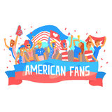 Cheering Happy Supporting Crowd Of National American Football Spots Team Fans And Devotees With Banners And Attributes. Sportive Support Team With Flags Royalty Free Stock Photo